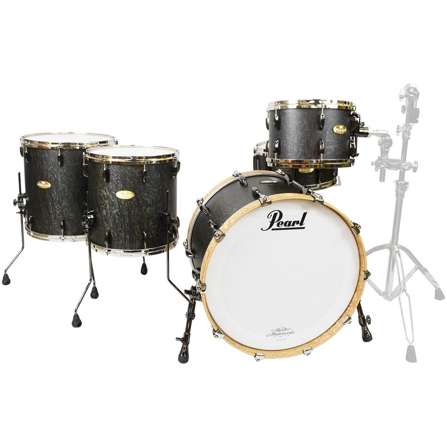 "Pearl Masterworks Sonic Select 5-Piece Studio Shell Pack (14"" Snare, 12-14-16"" Toms, 22"" Bass) in Matte Light Twilight over Tamo"