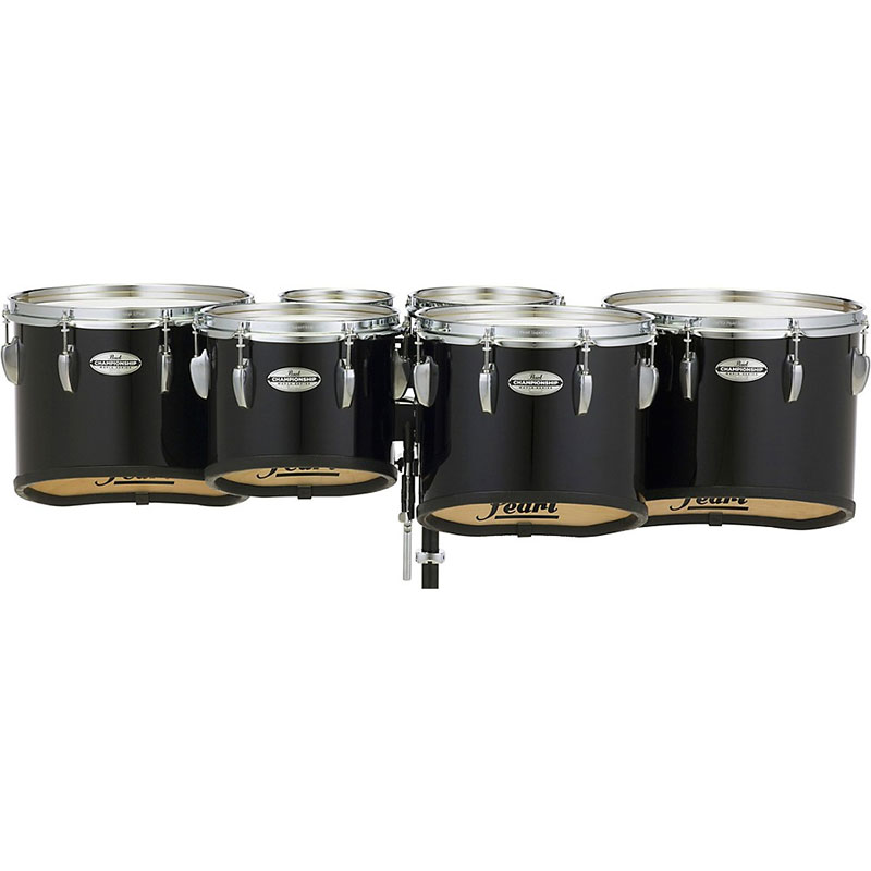 """Pearl 6-10-12-13-14"""" Championship CarbonCore Shallow-Cut Marching Tenors in Piano Black Lacquer"""