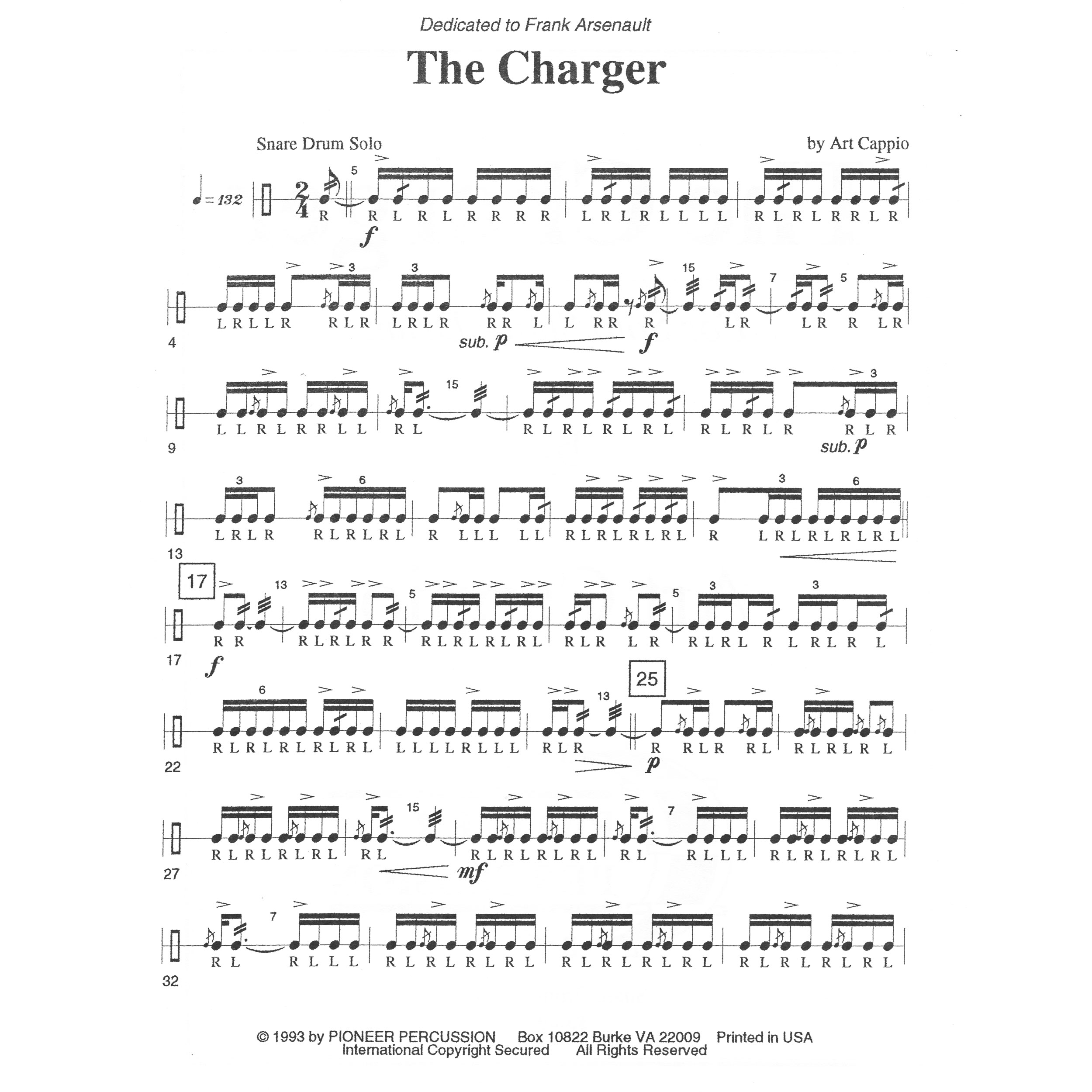 The Charger By Art Cappio | Snare Drum Solo (Pioneer ...