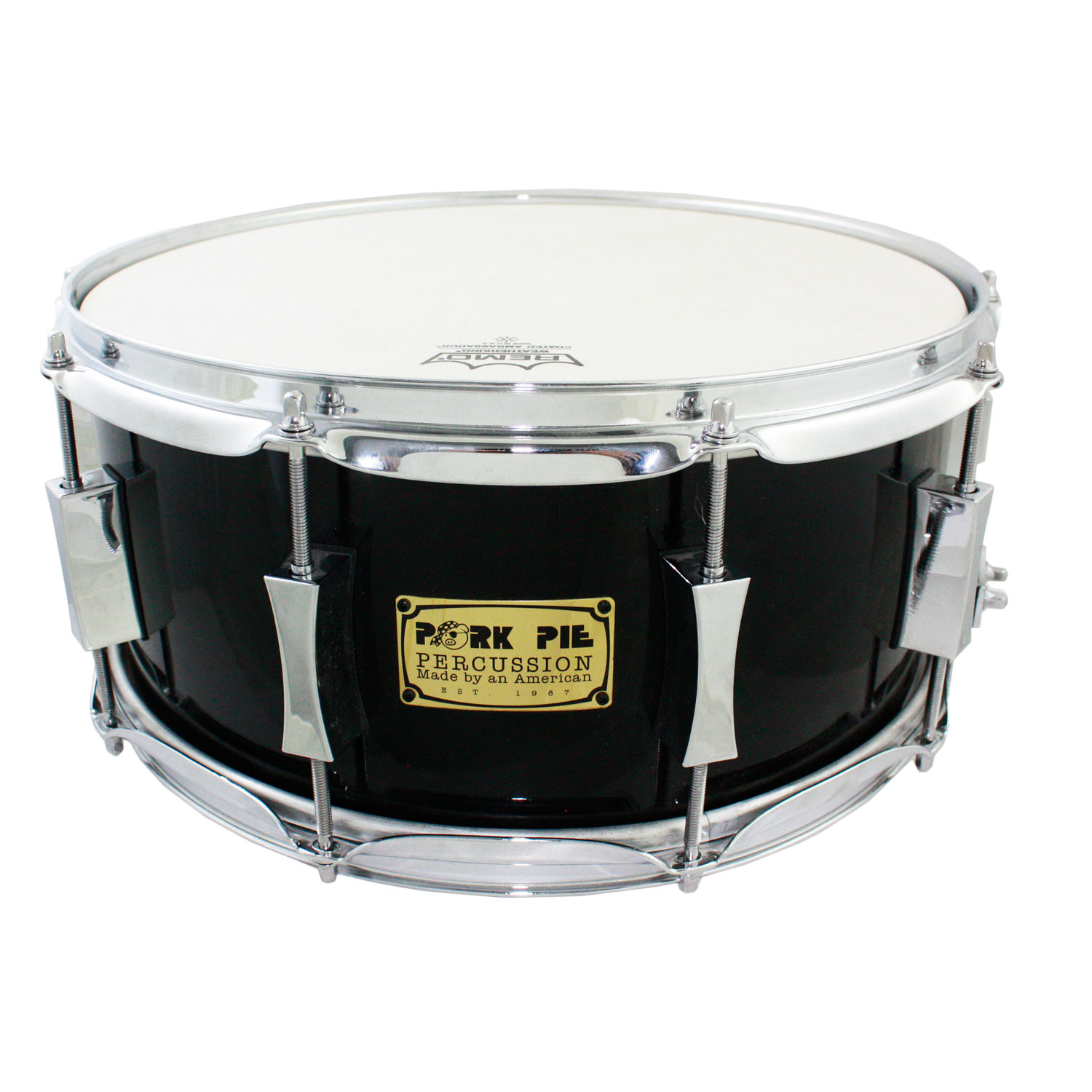 "Pork Pie 6.5"" x 14"" Maple/Poplar Vintage Gloss Black Snare Drum"