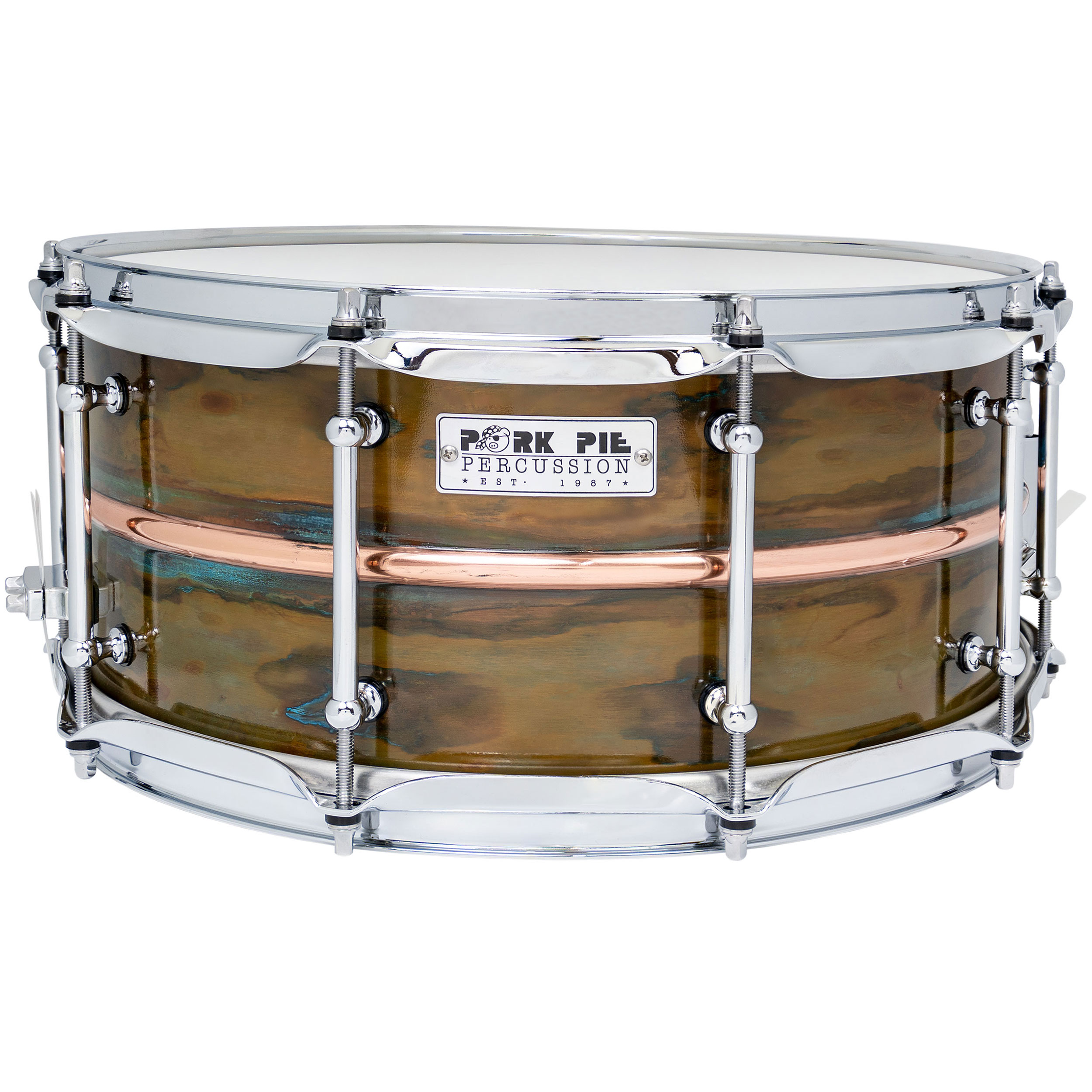 "Pork Pie Percussion 6.5"" x 14"" Copper Patina Snare Drum with Polished Bead"