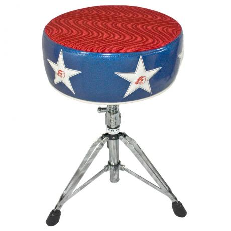 Pork Pie Round Top Throne with Blue Sparkle and Stars on Side - Red Seat