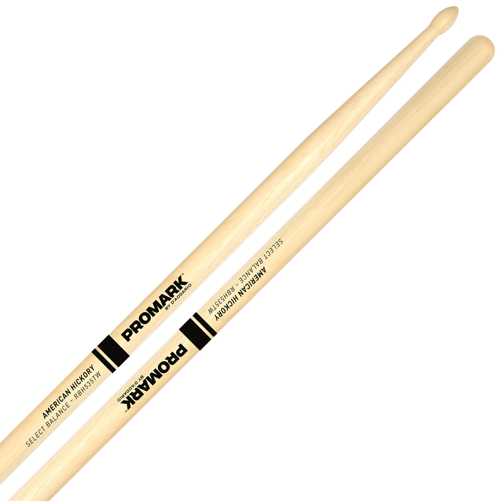 "Promark Rebound 7A (.535"") Hickory Drumsticks with Teardrop Wood Tips"