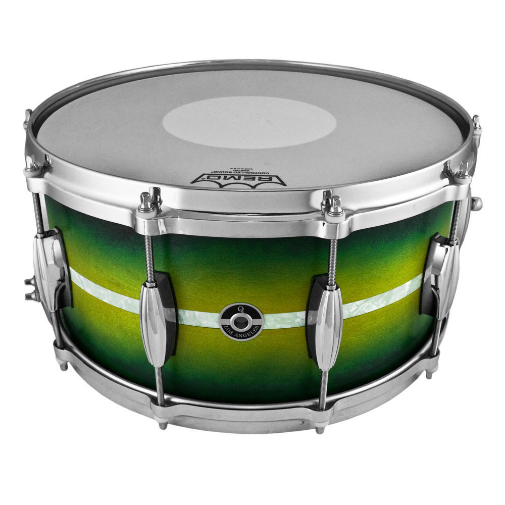 """Q Drum Co. 7"""" x 14"""" Maple Snare Drum in Green/Yellow Burst with Marine Pearl Inlay"""