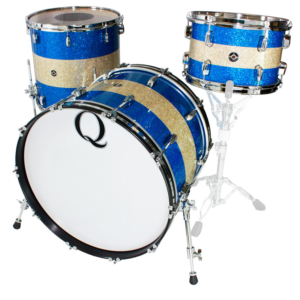 "Q Drum Co. Mahogany/Poplar 3-Piece Drum Set Shell Pack (22"" Bass, 12/16"" Toms) in Blue/Silver Glass Glitter"