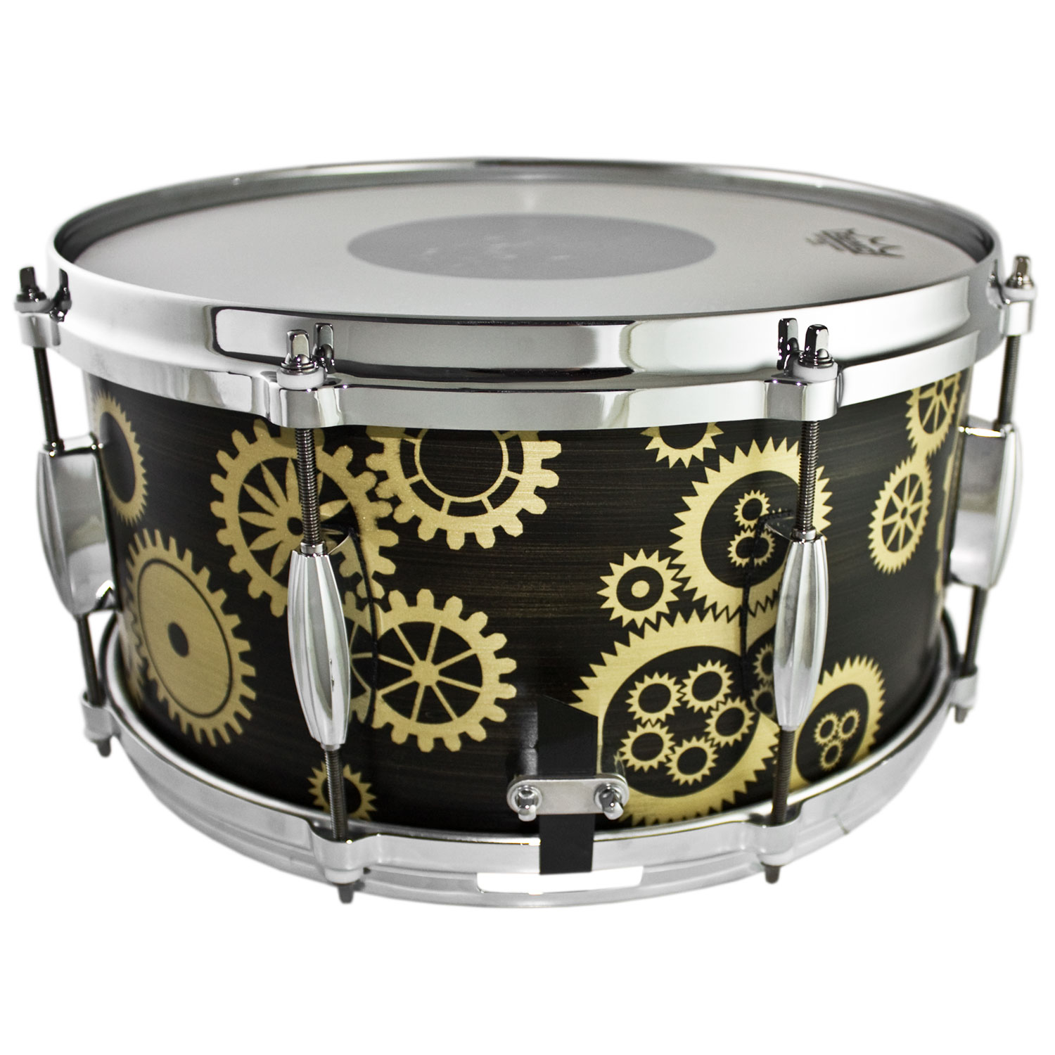 """Q Drum Co. 7"""" x 14"""" Brass Snare Drum with Gear Patina Design"""