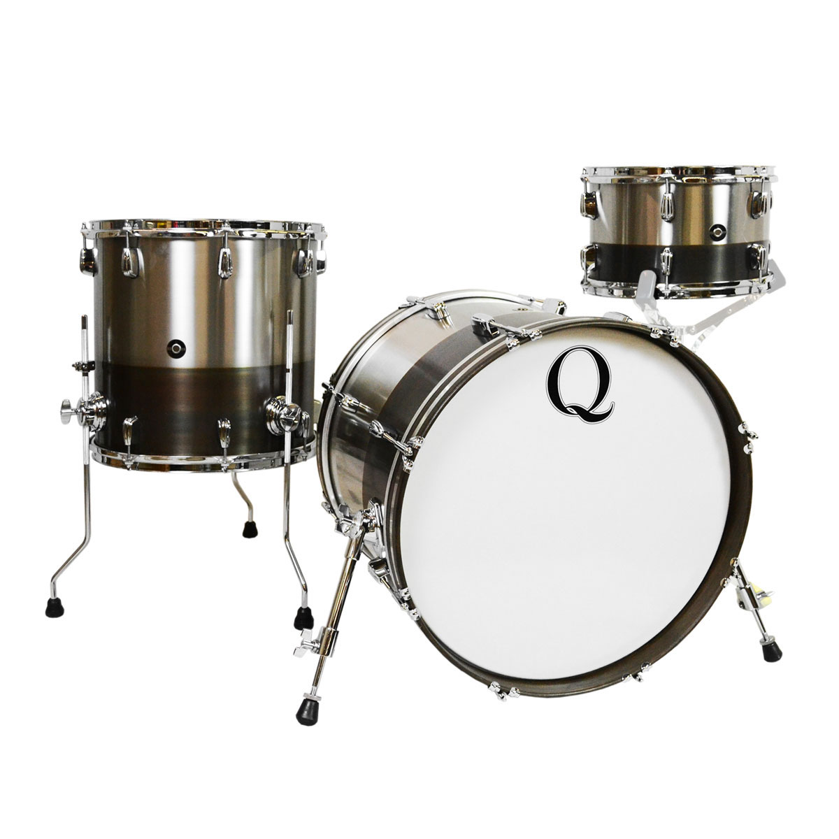 """Q Drum Co. Brushed Stainless Steel 3-Piece Drum Set Shell Pack (20"""" Bass, 12/15"""" Toms) in Horizon Patina"""