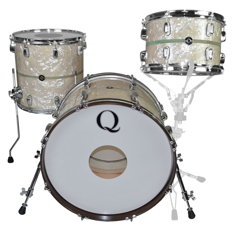 "Q Drum Co. Maple 3-Piece Drum Set Shell Pack (20"" Bass, 12/14"" Toms) in White Marine Pearl with Copper Patina Inlay"