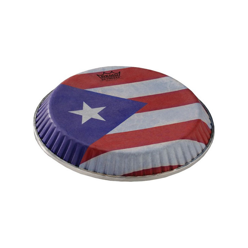 "Remo 9.75"" Symmetry Skyndeep Conga Drum Head (D1 Collar) with Puerto Rican Flag Graphic"