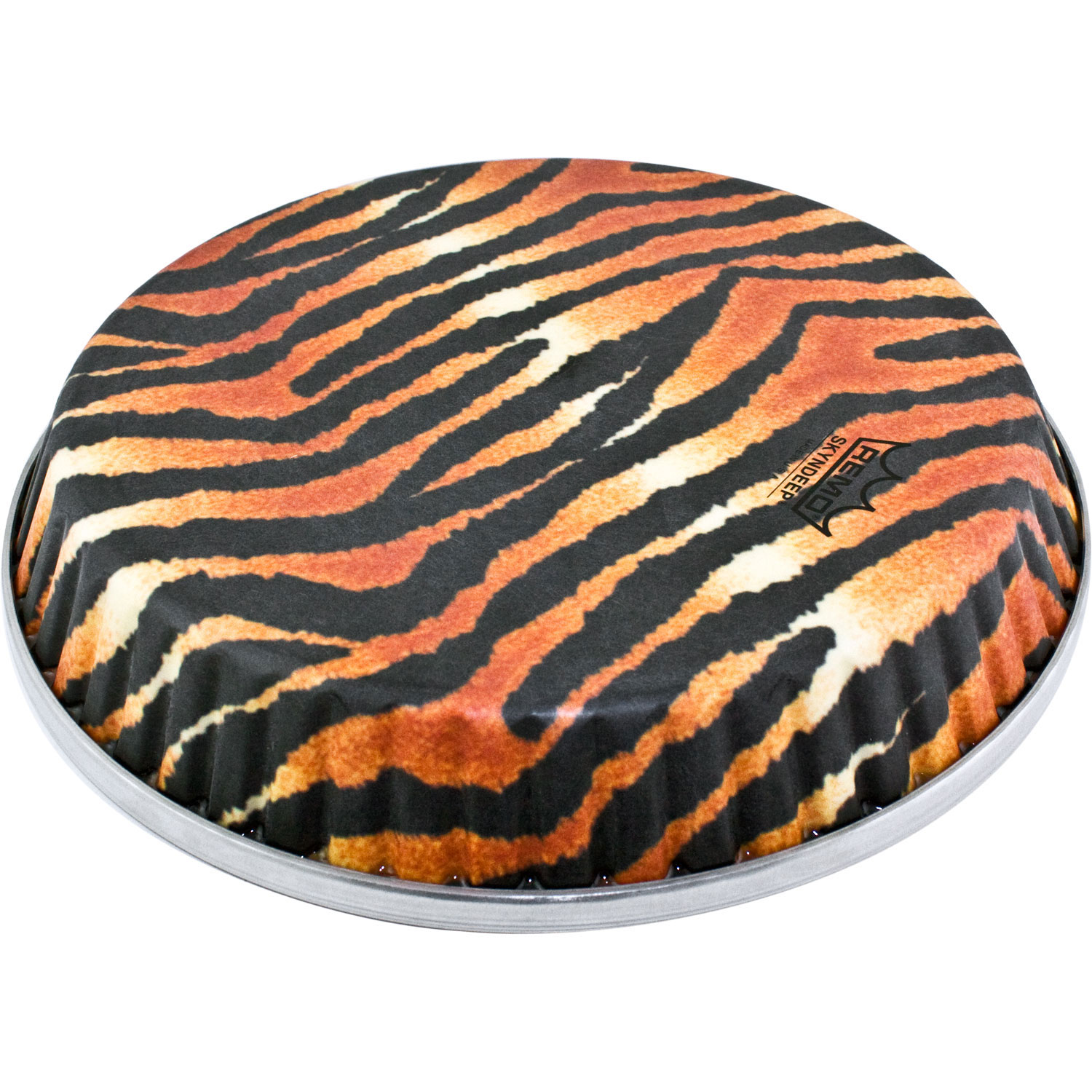 "Remo 10.75"" Symmetry Skyndeep Conga Drum Head (D2 Collar) with Tiger Stripe Graphic"