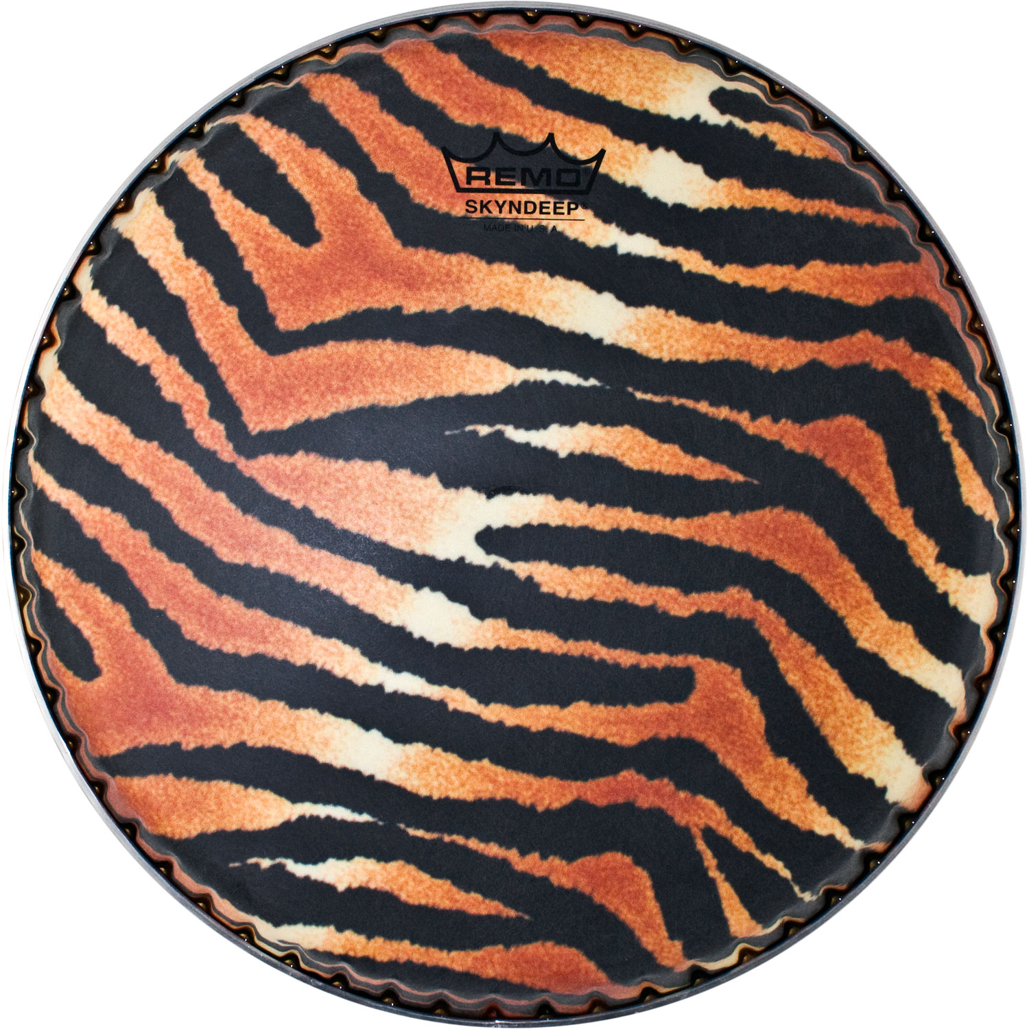 "Remo 11.75"" Symmetry Skyndeep Conga Drum Head (D1 Collar) with Tiger Stripe Graphic"