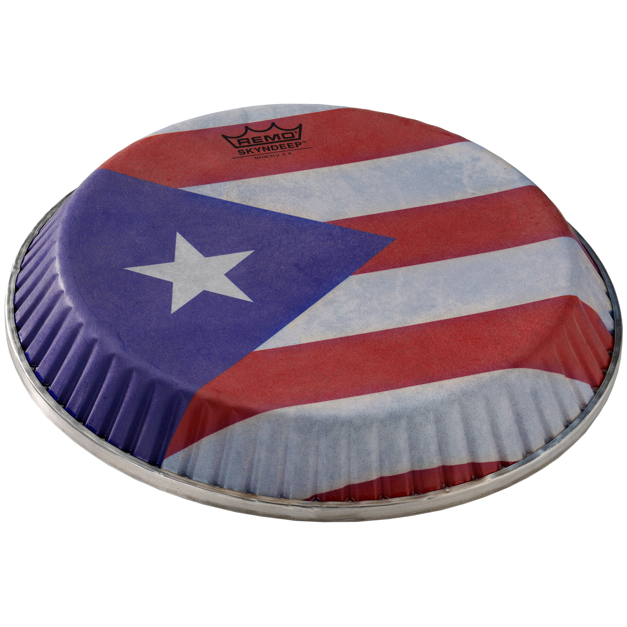 "Remo 13"" Symmetry Skyndeep Conga Drum Head (D1 Collar) with Puerto Rican Flag Graphic"