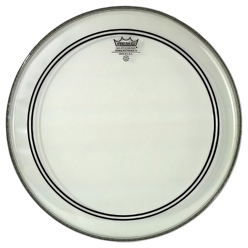 "Remo 22"" Powerstroke P3 Clear Bass Drum Head with Falam Patch"