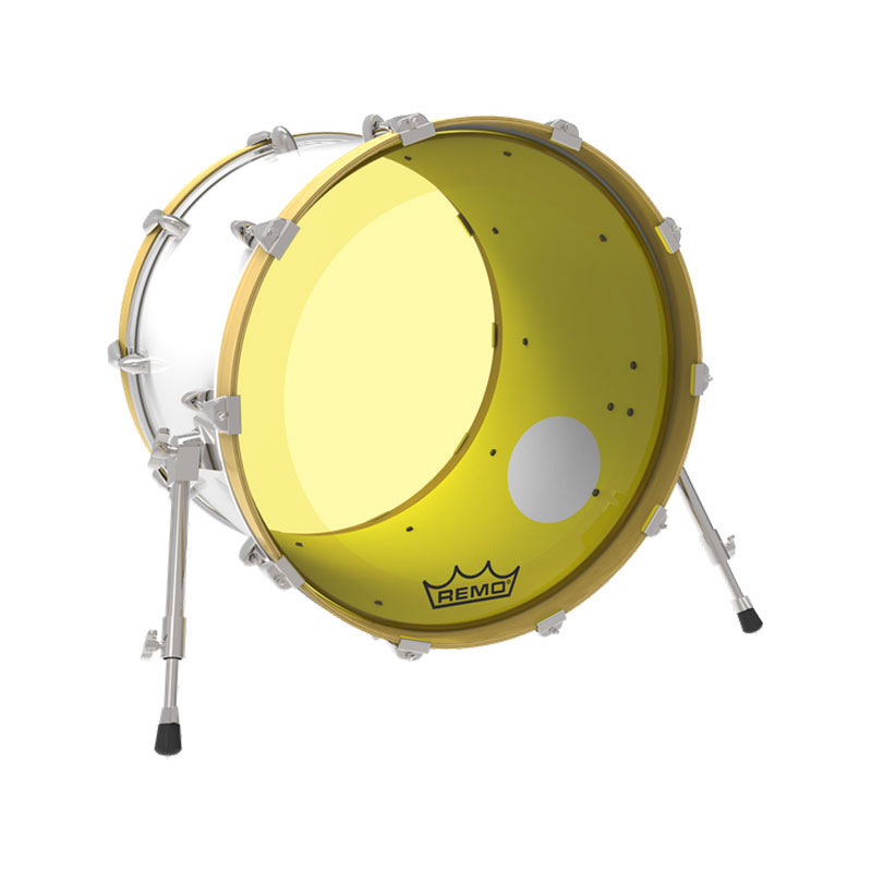 remo 26 powerstroke p3 colortone yellow bass drum head with 5 offset hole p3 1326 ct yeoh. Black Bedroom Furniture Sets. Home Design Ideas