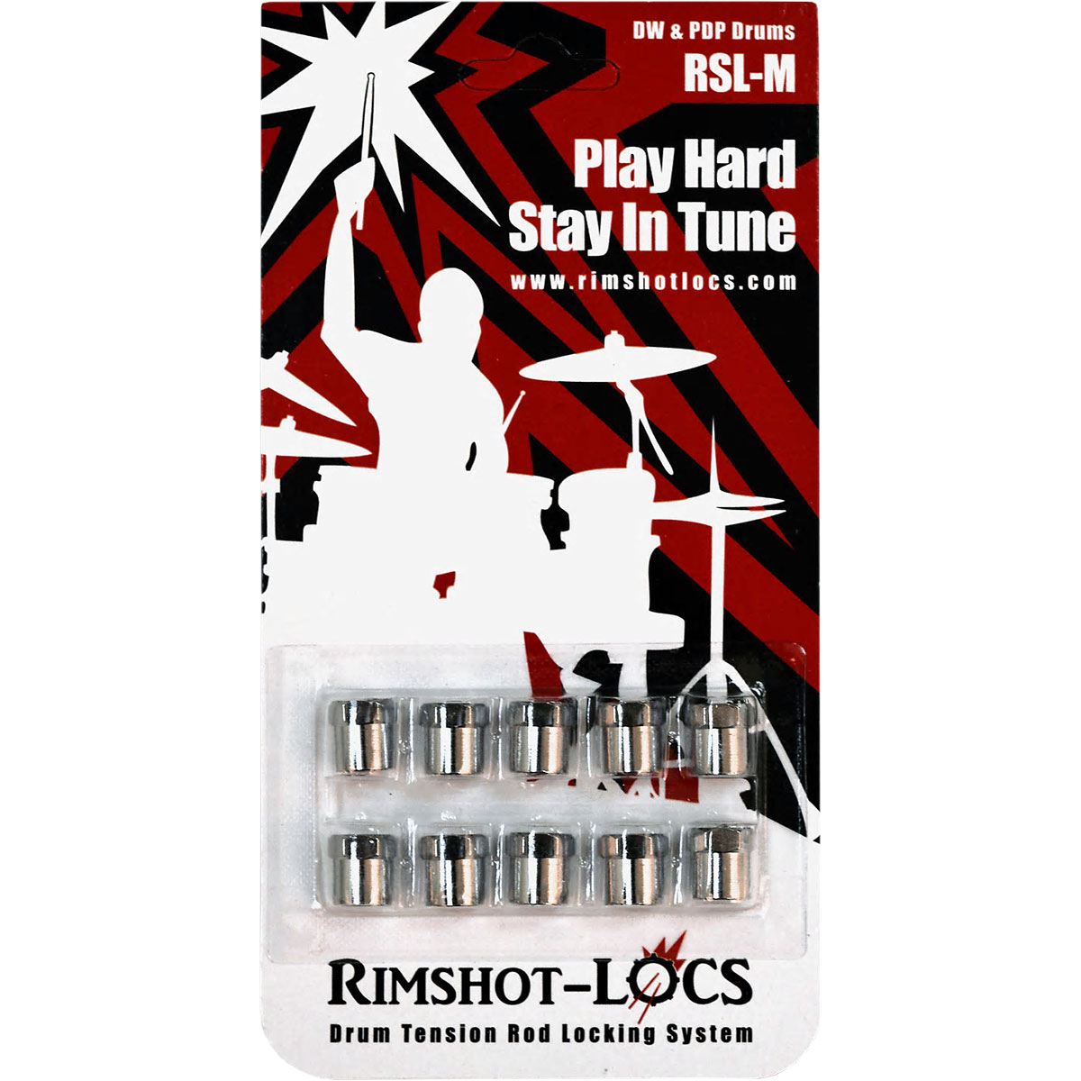 "Rimshot-Locs DW/PDP 1/8"" Shoulder Tension Rod Locking System (10-Pack)"