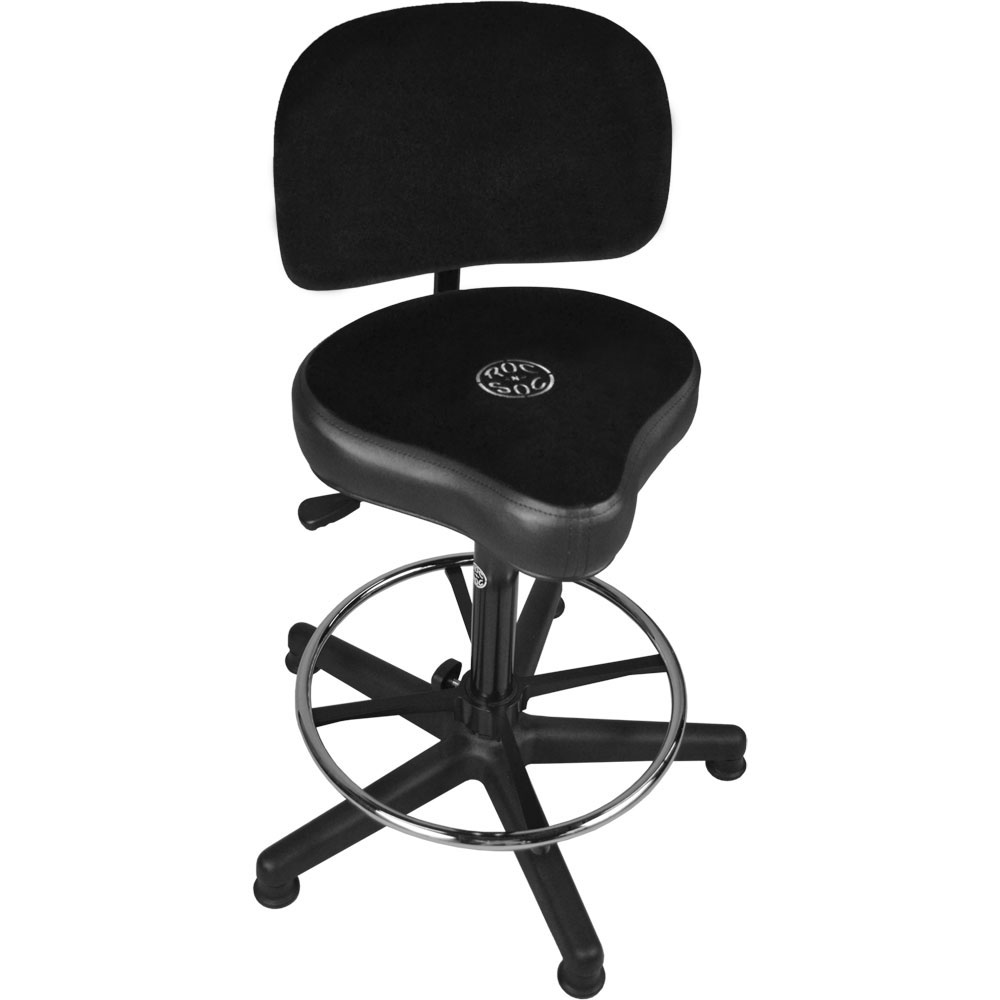 Roc-n-Soc Lunar Extended Gas Lift Timpani/Drum Throne with Foot Ring, Hugger Seat, & Back Rest in Black