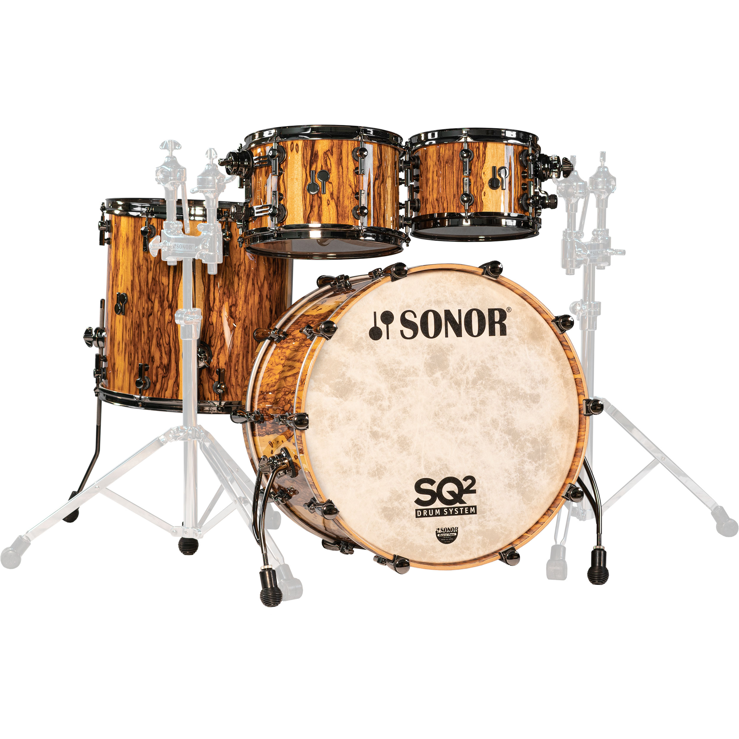 """Sonor SQ2 Custom Vintage Maple 4-Piece Drum Set Shell Pack (22"""" Bass, 10/12/16"""" Toms) in African Marble with Black Chrome Hardware"""