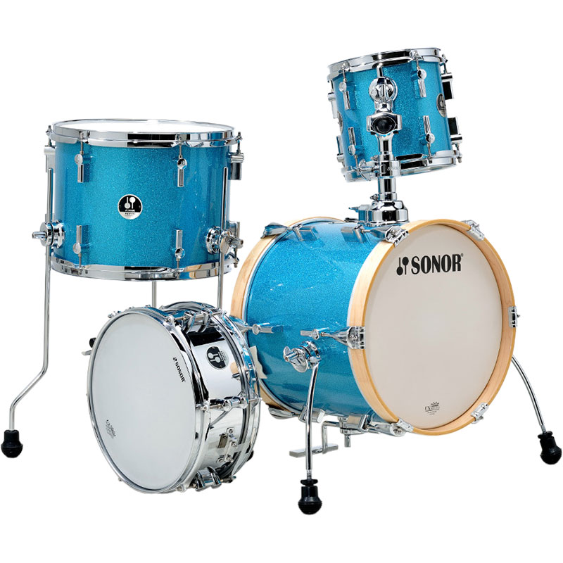 "Sonor Martini 4-Piece Drum Set Shell Pack (14"" Bass, 8/13"" Toms, 12"" Snare) in Turquoise Galaxy Sparkle"