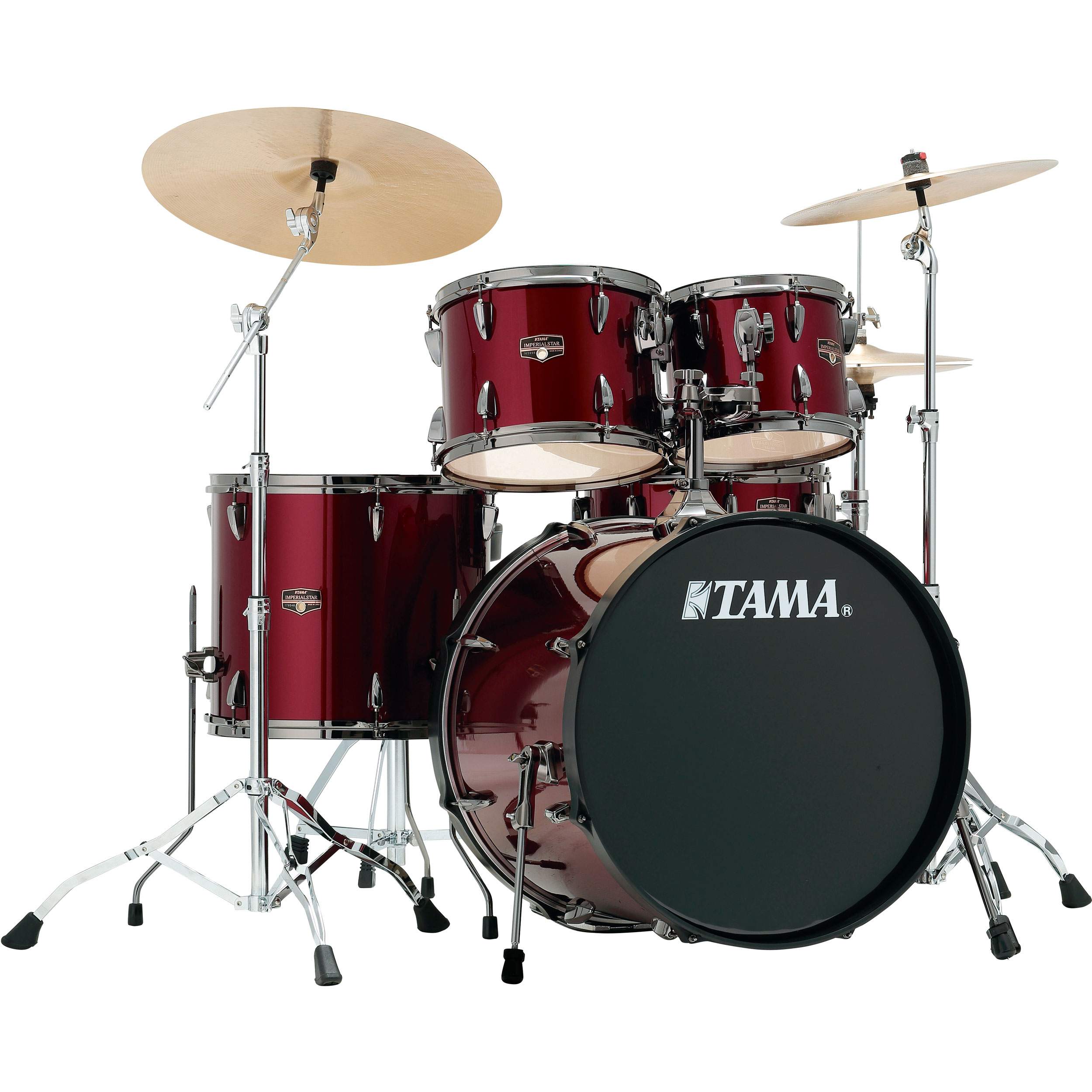 tama imperialstar 5 piece drum set with black nickel hardware and cymbals ip52nbc. Black Bedroom Furniture Sets. Home Design Ideas