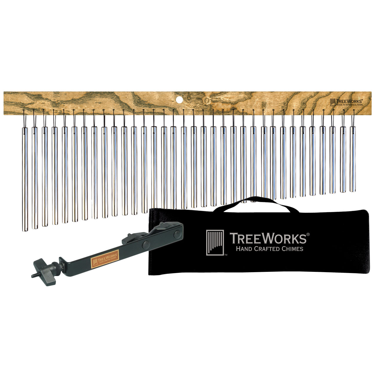 TreeWorks 35-Bar Single Row Classic Wind Chimes Performance Kit
