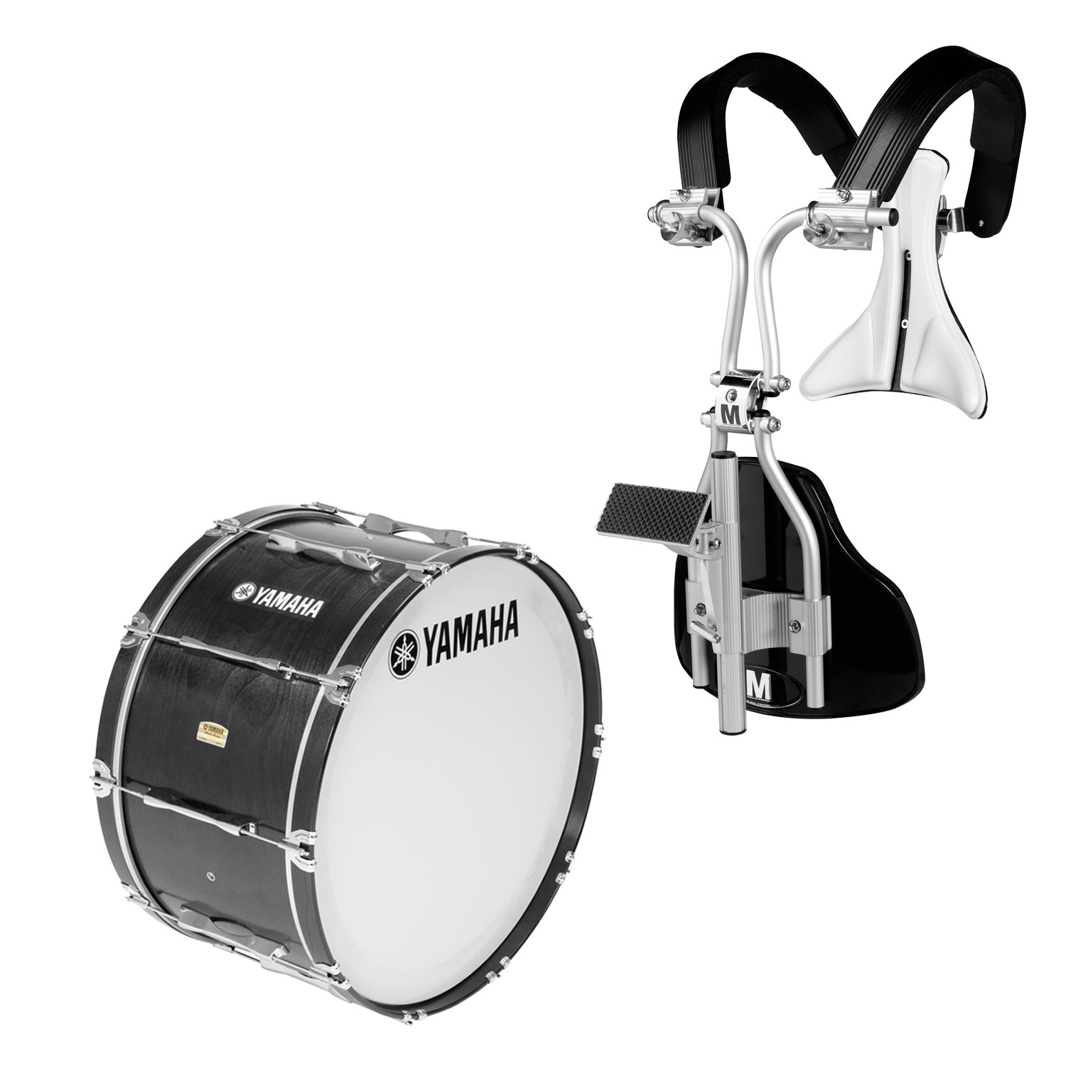 """Yamaha 14"""" 8300 Field-Corps Marching Bass Drum with MonoPosto Carrier"""