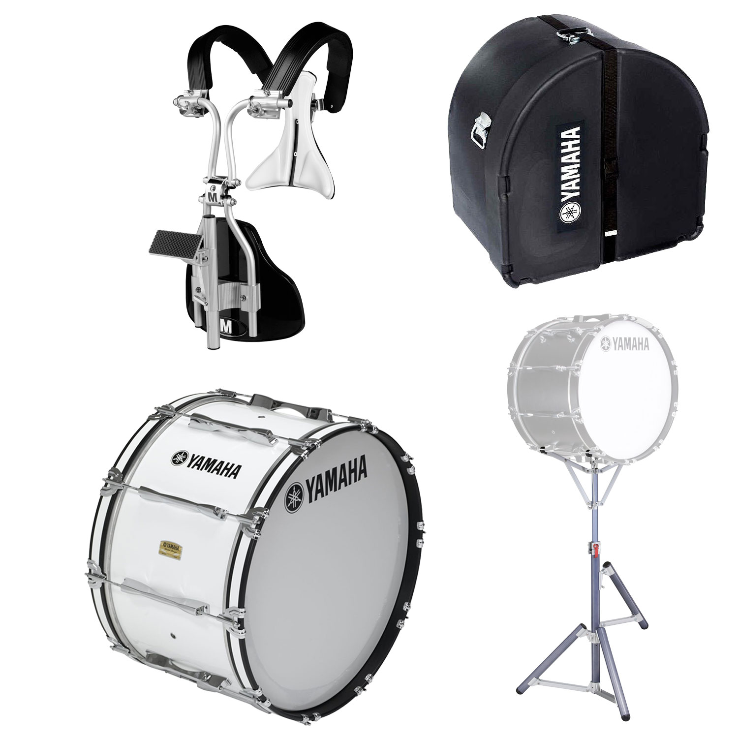 """Yamaha 14"""" 8300 Field-Corps Marching Bass Drum with MonoPosto Carrier, Case, and Stand"""