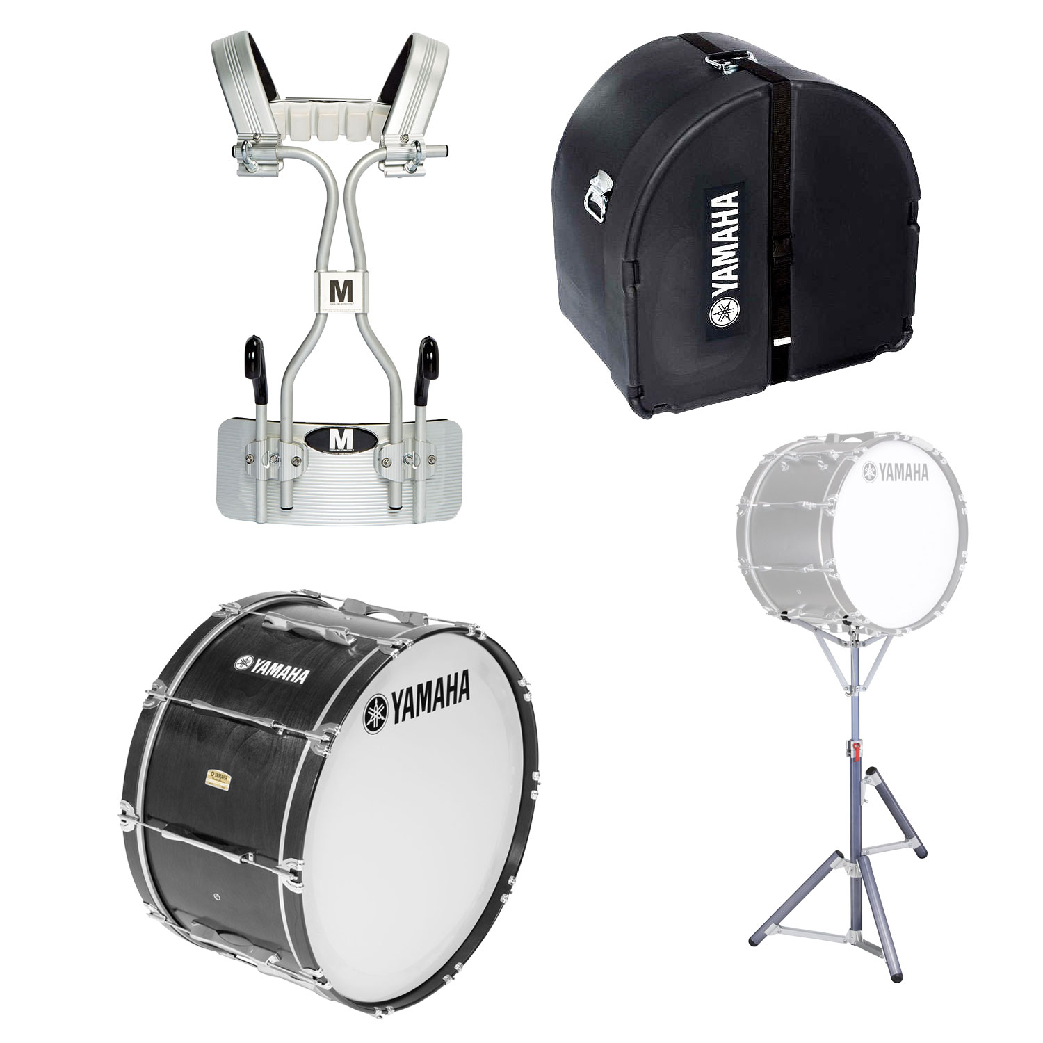 """Yamaha 14"""" 8300 Field-Corps Marching Bass Drum with Tube Carrier, Case, and Stand"""