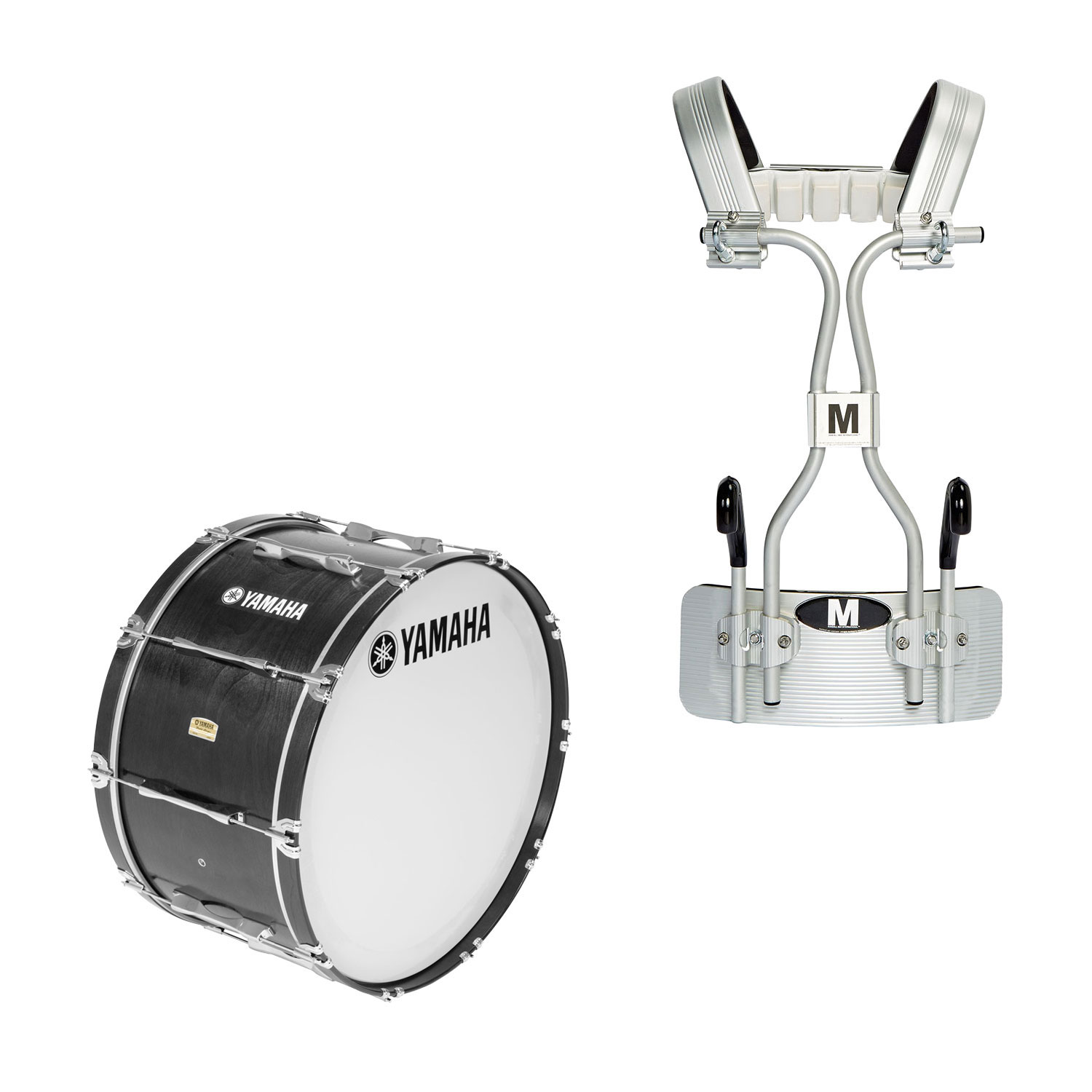 """Yamaha 16"""" 8300 Field-Corps Marching Bass Drum with Tube Carrier"""
