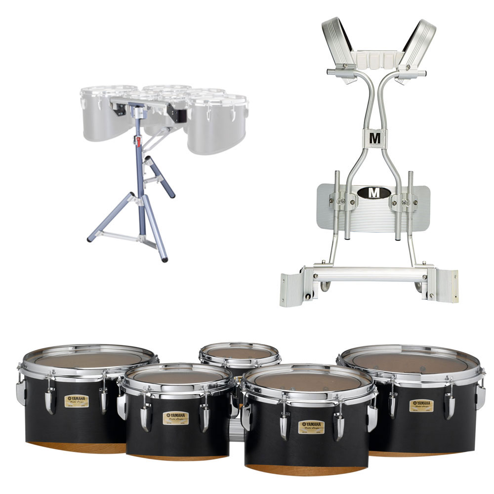 "Yamaha 6-10-12-13-14"" 8300 Field-Corps Marching Tenors with Tube Carrier and Stand"