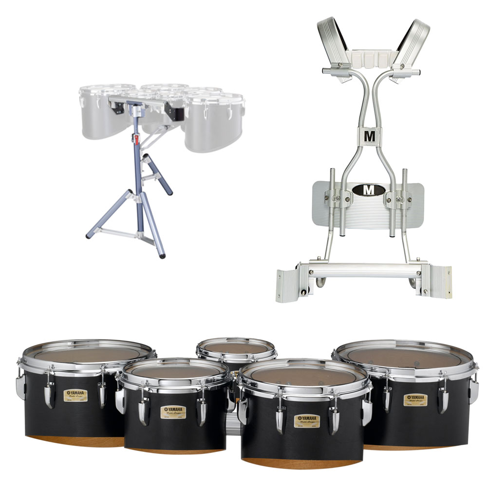 """Yamaha 6-8-10-12-13"""" 8300 Field-Corps Marching Tenors with Tube Carrier and Stand"""