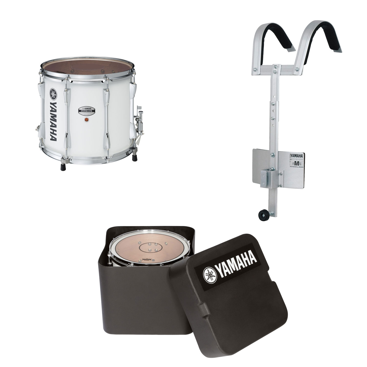 "Yamaha 14"" (Diameter) x 12"" (Deep) Power-Lite Drum/Carrier/Case Marching Snare Drum Bundle"