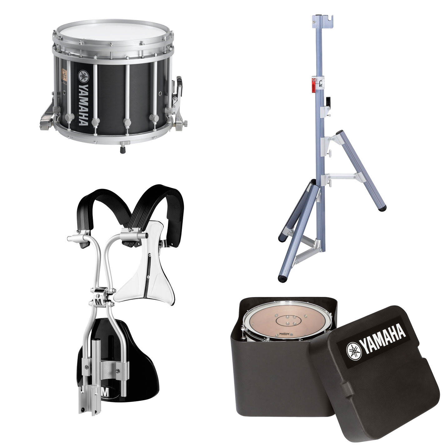 "Yamaha 13"" (Diameter) x 11"" (Deep) 9300 SFZ Marching Snare Drum with MonoPosto Carrier, Case, and Stand"