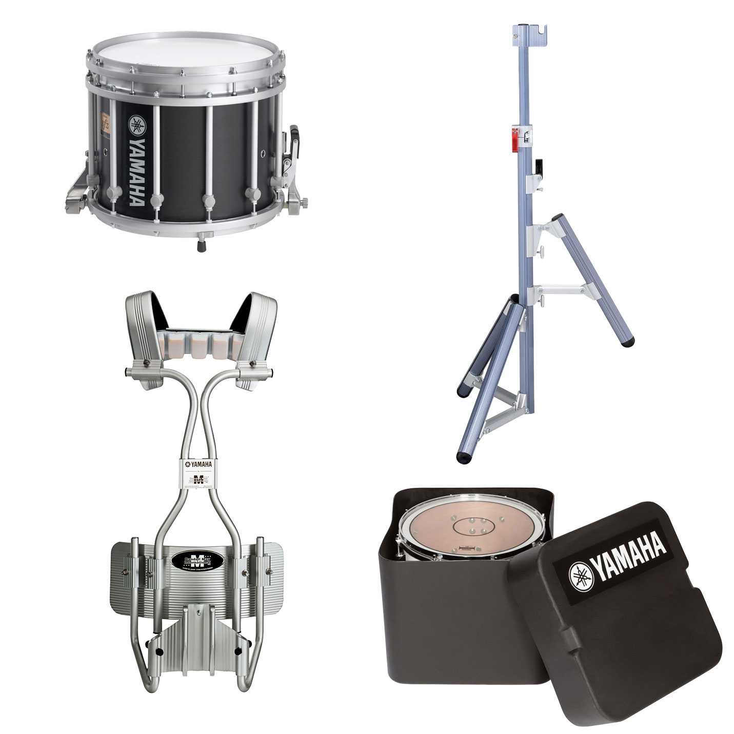 "Yamaha 13"" (Diameter) x 11"" (Deep) 9300 SFZ Marching Snare Drum with Tube Carrier, Case, and Stand"