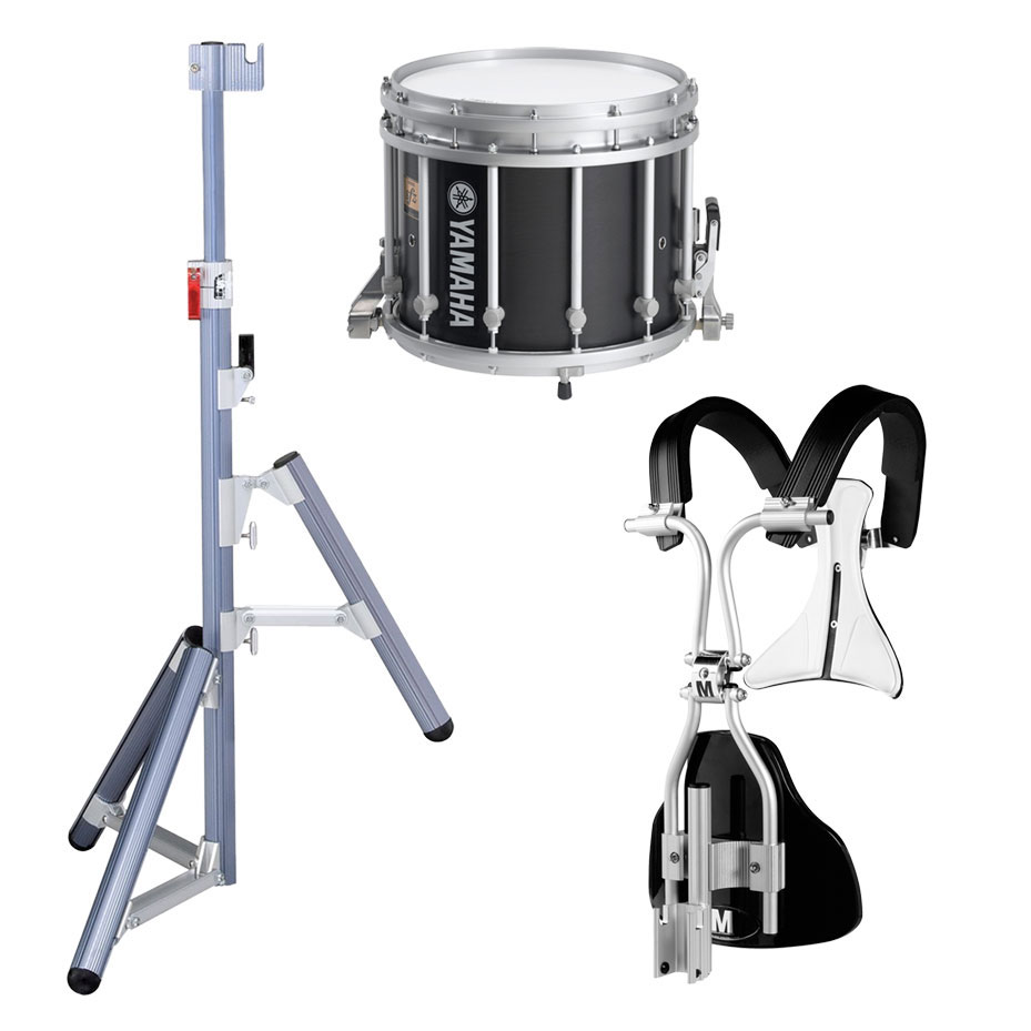 "Yamaha 14"" (Diameter) x 12"" (Deep) 9300 SFZ Marching Snare Drum with Chrome Hardware, MonoPosto Carrier and Stand"