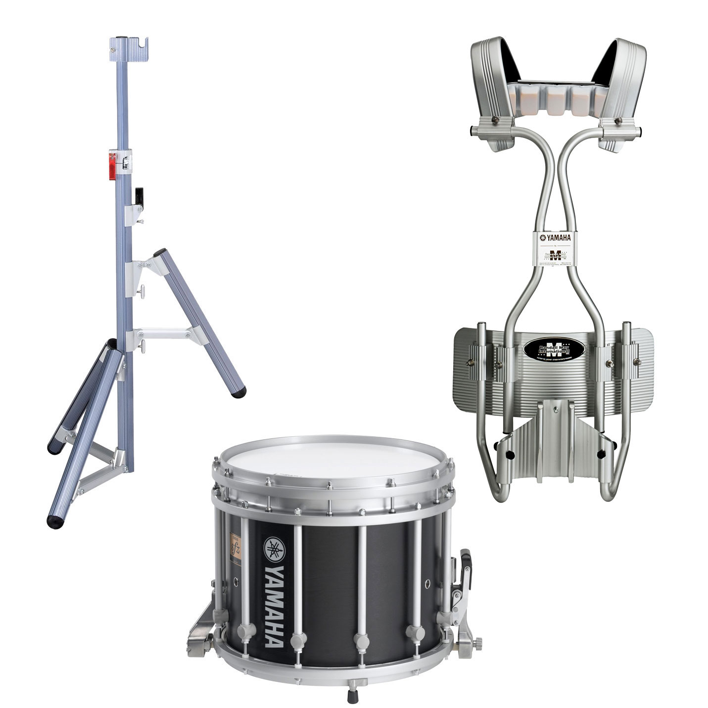 "Yamaha 14"" (Diameter) x 12"" (Deep) 9300 SFZ Marching Snare Drum with Chrome Hardware, Tube Carrier, and Stand"