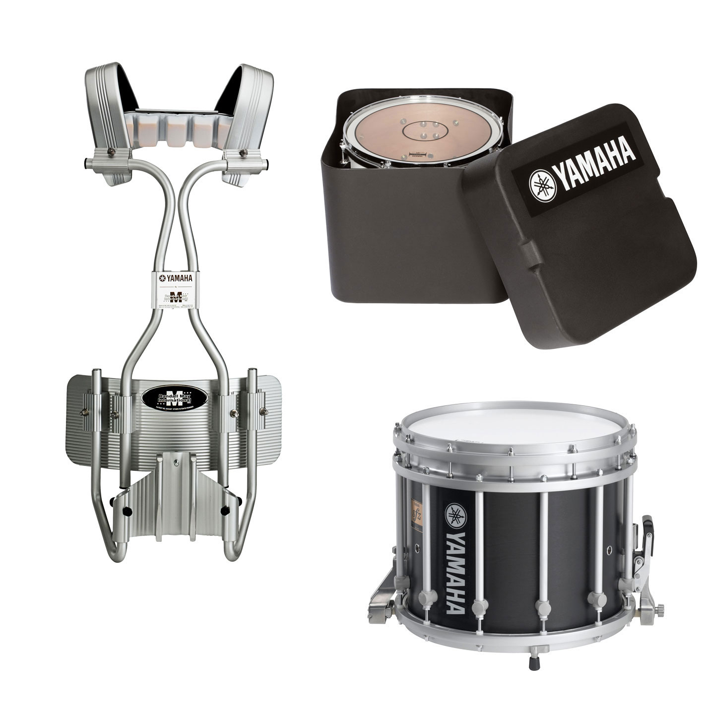 "Yamaha 14"" (Diameter) x 12"" (Deep) 9300 SFZ Marching Snare Drum with Chrome Hardware, Tube Carrier, and Case"