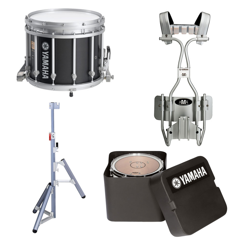 "Yamaha 14"" (Diameter) x 12"" (Deep) 9300 SFZ Marching Snare Drum with Tube Carrier, Case, and Stand"