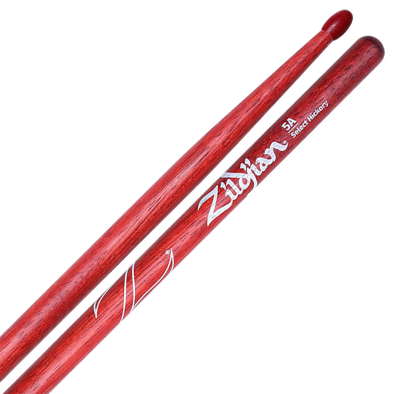 Zildjian Select Hickory Nylon Tip 5A Red Stain Drumsticks